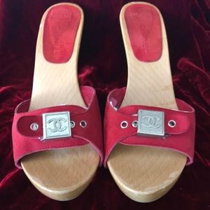 Chanel Authentic Red Suede Mule Sandals